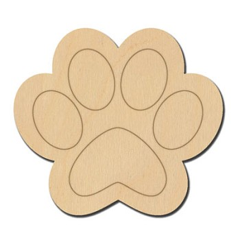 "Paw Print Etched - 2 1/2"" wide"