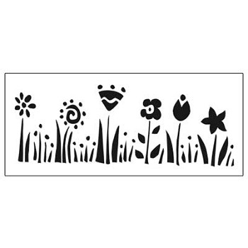 Stencil - Row of Flowers - 3 x 7 3/4""