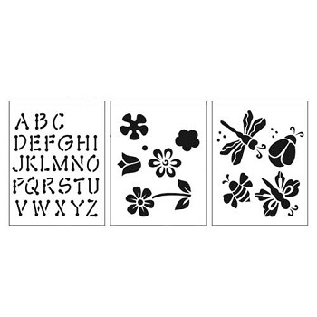 "Stencil 3pc Value Pack - Flowers - 7"" x 10"""