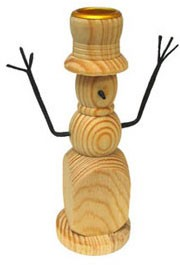 Candlestick Snowman w/arms - 6 1/4""