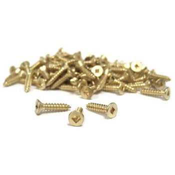 "#4 x 3/8"" Brass Flat Head Screws - 100pc"