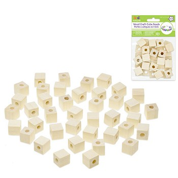 "Wood Cube Beads Natural - 1/2"" - 40pc"