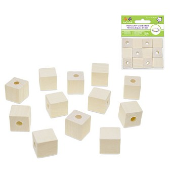 "Wood Cube Beads Natural - 3/4"" - 12pc"