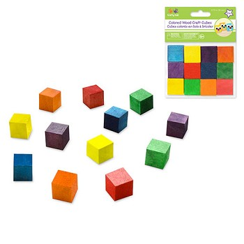 "Wooden Cubes - 3/4"" Coloured - 12pc"