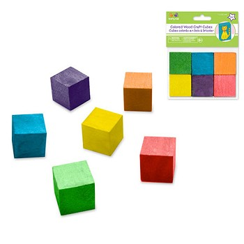 "Wooden Cubes - 1"" Coloured - 6pc"